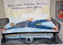 Contenzione fisica di un paziente, dipinto.